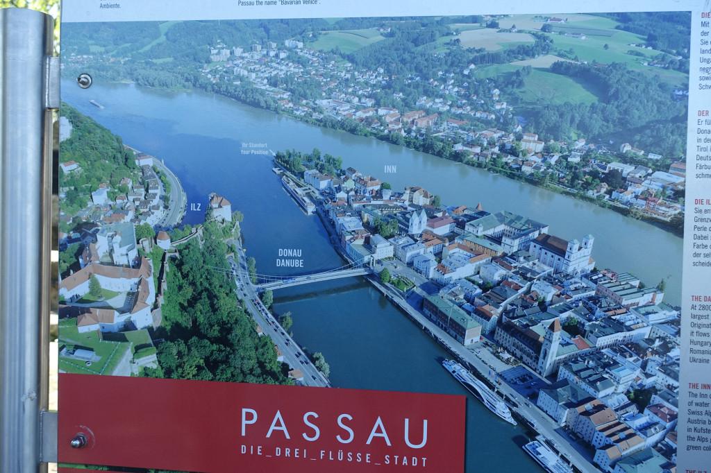 Lage Passaus zwischen Donau und Inn