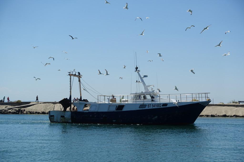 Heimkehrendes Fischerboot auf dem Hérault