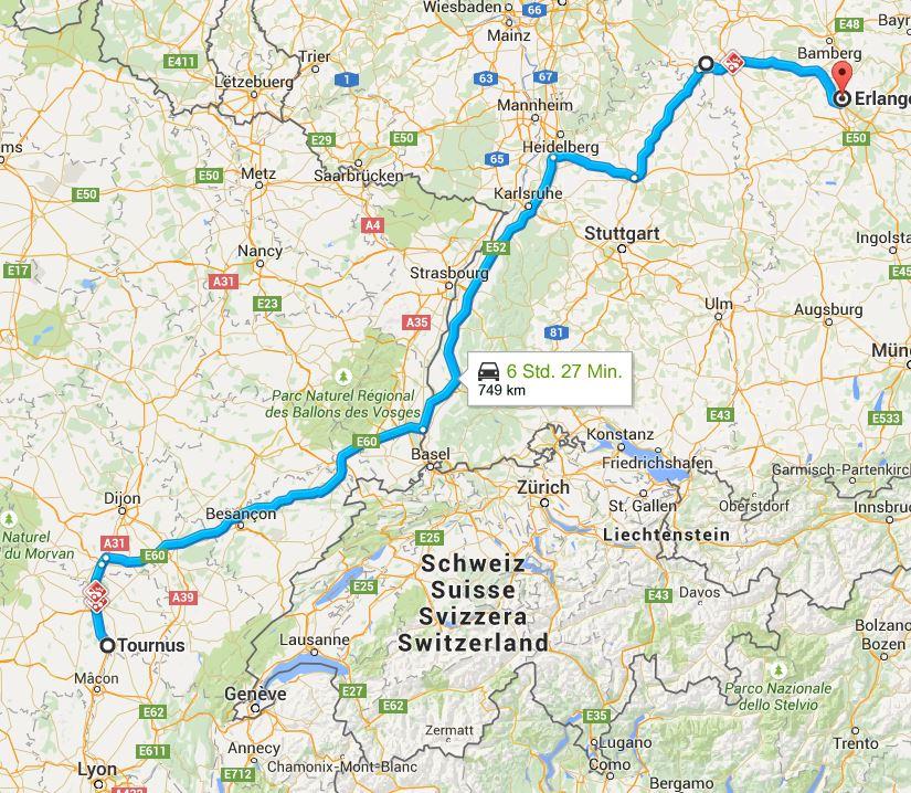 Fahrt von Erlangen nach Tournus (Quelle: google.maps)