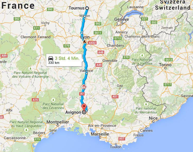 Von Tournus nach Avignon (Quelle: google.maps)