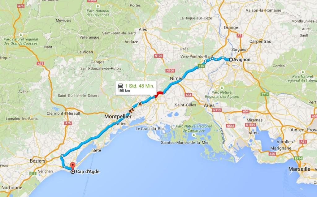 Von Avignon nach Cap d' Agde (Quelle: google.maps)