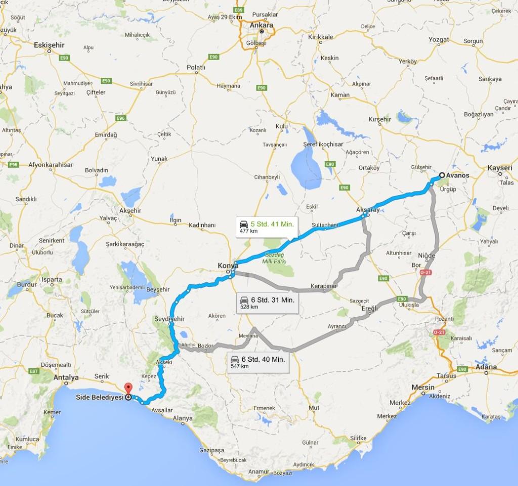Route Side - Avanos (Quelle: google maps