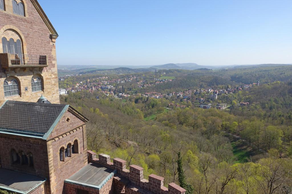 Wartburg - Blick vom Südturm in Richtung Burschenschaftsdenkmal