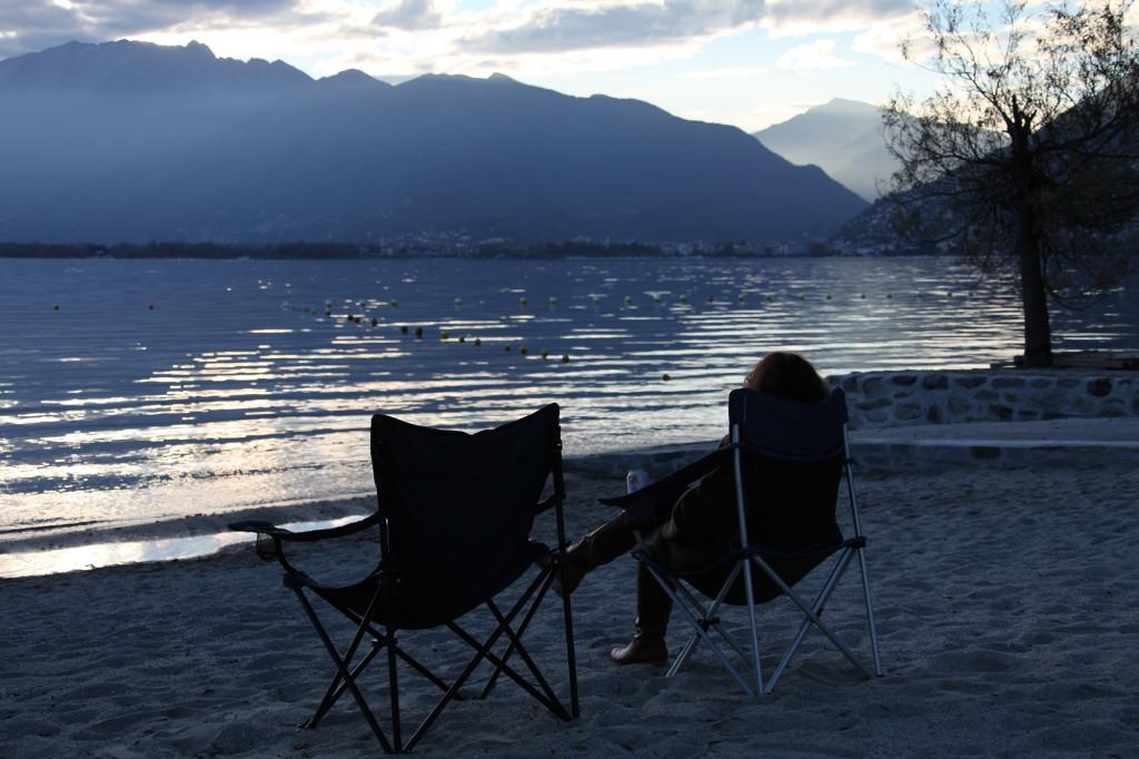 Lago Maggiore - Strand des Camping Lago Maggiore in Tenero