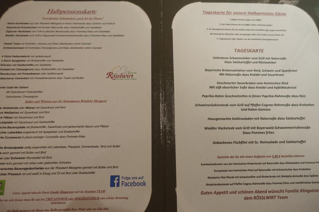 Hotel Rösslwirt - für das Abendessen hat man eine riesige Auswahl aus der Halbpensions-Karte