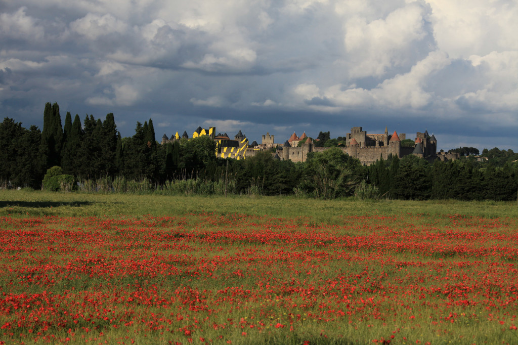 Carcassonne - erster Blick auf die Burganlage