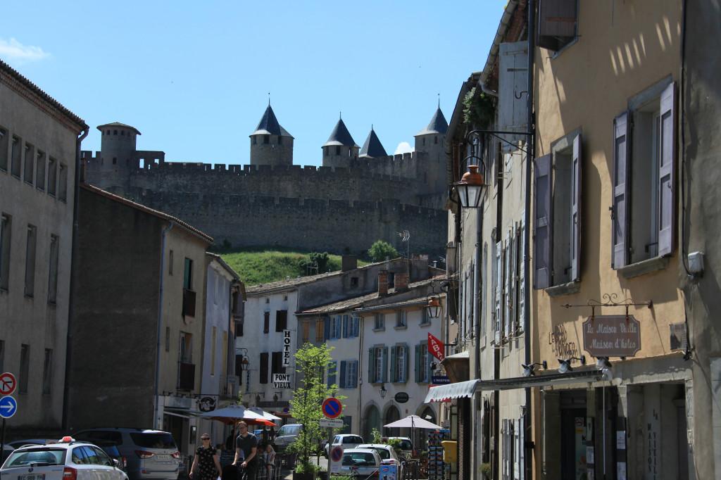 Carcassonne - Blick von der Unter- zur Oberstadt