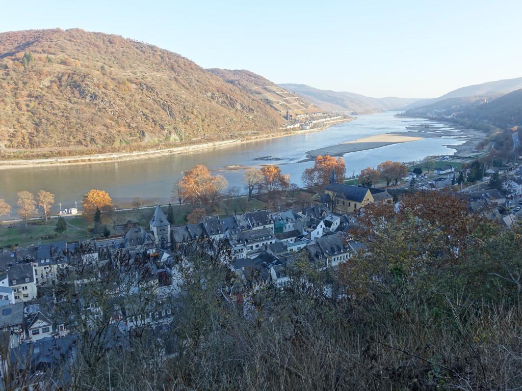 Blick von der Burg auf den Rhein mit seinem niedrigen Wasserstand