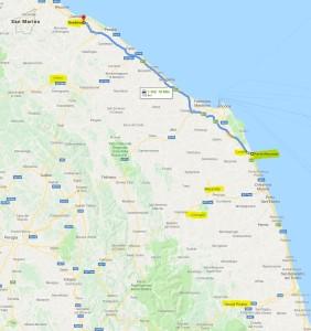 Region Marken - gelb markiert sind die Orte, die wir in den Marken besuchen werden