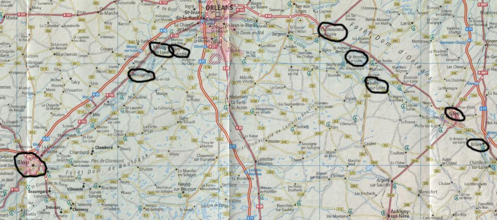 """[Quelle: Karte aus Dumont """"Tal der Loire""""] - Unsere ersten Zielorte"""