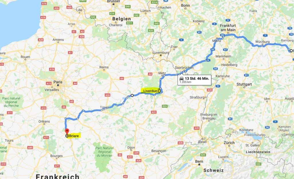 Quelle: google.maps - (Die Fahrtstrecke beträgt insgesamt nur 840 km)